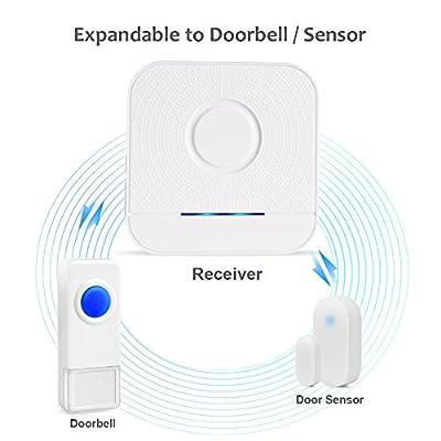 BITIWEND Wireless Doorbell Kit, Bitiwend 1000-feet Range, 52 Chimes Optional, 4 Level Volume, LED Indicator, 2 Receivers & 1 Push Button Transmitter Waterproof Doorbells