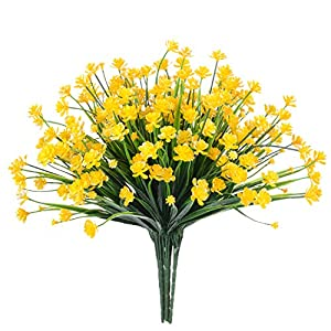 DearHouse Artificial Fake Flowers, 4Pcs Artificial Shrubs Faux Plastic Bushes Faux Yellow Daffodils Greenery Shrubs Plants Indoor Outside Home Garden Wedding Cemetery Décor 29