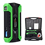 Uallwanna 600A Peak 20000mAh Portable Car Jump Starter (up to 6.0L Gas/4.0L Diesel Engine) Portable Battery Booster with Smart Charging Port, Compass, LCD Screen & LED Flashlight (Green)
