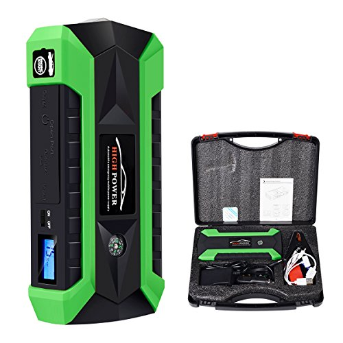 Uallwanna 600A Peak 20000mAh Portable Car Jump Starter (up to 6.0L Gas/4.0L Diesel Engine) Portable Battery Booster with Smart Charging Port, Compass, LCD Screen & LED Flashlight (Green) by Uallwanna