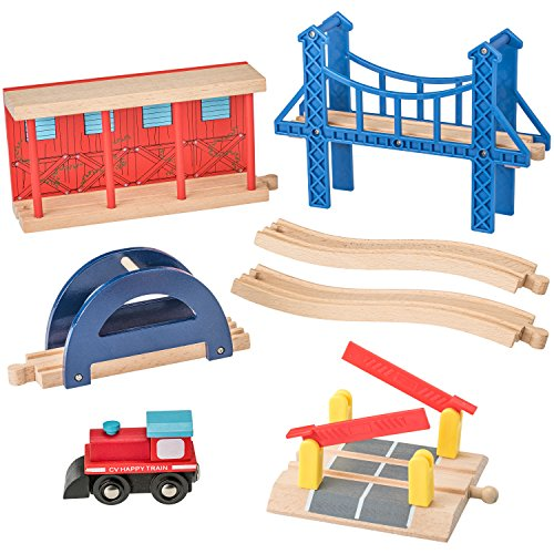 Wooden Train Accessories Set 100% Compatible with All Major Train Brands - 7 Pieces - By Dragon Drew