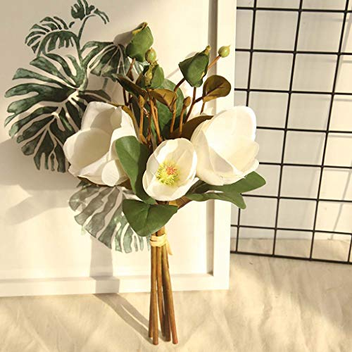 Gotian Artificial Fake Flowers Leaf Magnolia Floral Wedding Bouquet Party Home Decor ~ Perfect for Decorating Wedding Party, Your Home and Garden, Office, Coffee House (D)