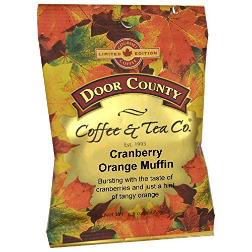 (Door County Coffee Fall Seasonal Blend, Cranberry Orange Muffin, Ground, 1.5oz Full-Pot Bags, 6)