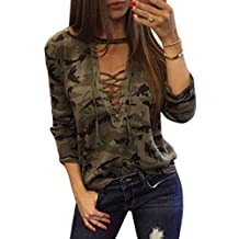 Women Sexy Deep V Neck Lace Up Shirts Long Sleeve Camouflage Tees Tops