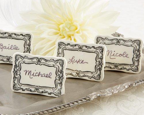 Wedding Favors Vintage Filigree Ceramic Place Marker Set of 6