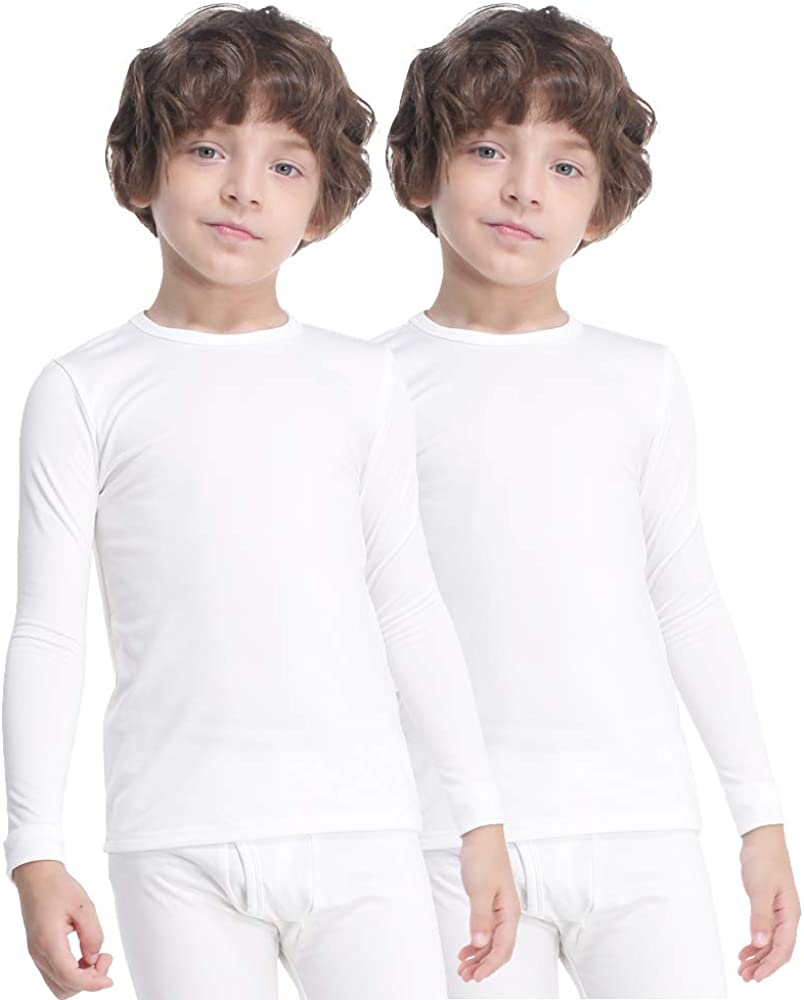 MANCYFIT Thermal Tops for Boys Fleece Lined Underwear Long Sleeve Undershirts Baselayer 2 Pack