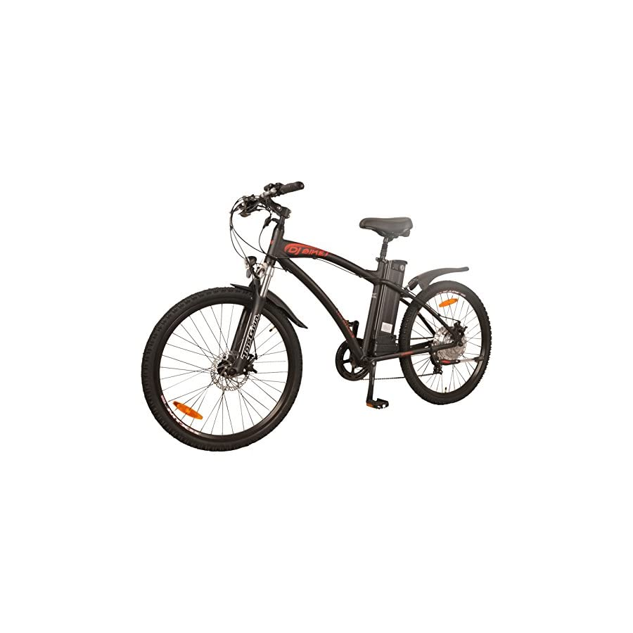 DJ Mountain Bike 500W 48V 13Ah Power Electric Bicycle, Samsung Lithium Ion Battery, 7 Speed, Matte Black, LED Bike Light, Fork Suspension Shimano Gear