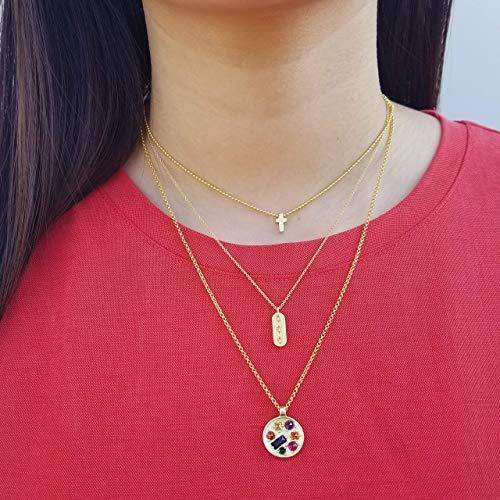 Multicolored Pendant Necklace, Coin Pendant Necklace, Medallion Necklace, Gem Stone Necklace, Matte Gold Necklace, Rainbow, OCEAN NECKLACE