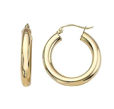 d34be0e74fdae Amazon.com: Medium 14K Gold Thick Tube Hoop Earrings w/Click-Down ...