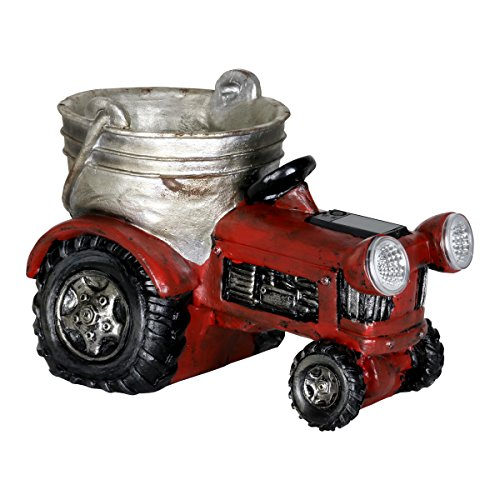 Exhart Solar Red Tractor Planter - Country Rustic Red Tractor w/Small Bucket Plant Pot and Solar Garden Lights, Hand-Painted Mini Tractor Planting Pots Resin Decor, 12