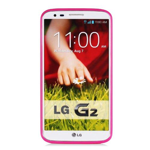 Mansion Premium Soft Flexible Polka Dot Rubber Skin TPU Case Gel Cover for LG G2 D800 / D802 (Hot Pink, LG G2)
