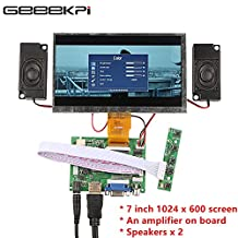 GeeekPi 7 Inch 1024x600 HDMI Screen LCD Screen & Driver Board with Amplifier Onboard & Two Speakers Kit for Raspberry Pi