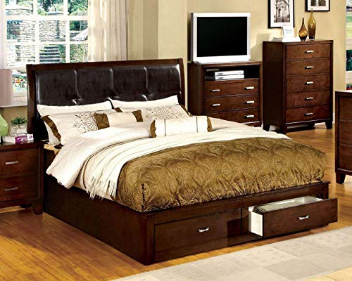 Furniture of America Enrico III Collection CM7066Q-BED Queen Size Platform Bed with 2 Footboard Storage Drawers Padded Leatherette Headboard Solid Wood and Wood Veneers Construction in Brown Cherry Finish Brown Cherry Veneer Queen Bed