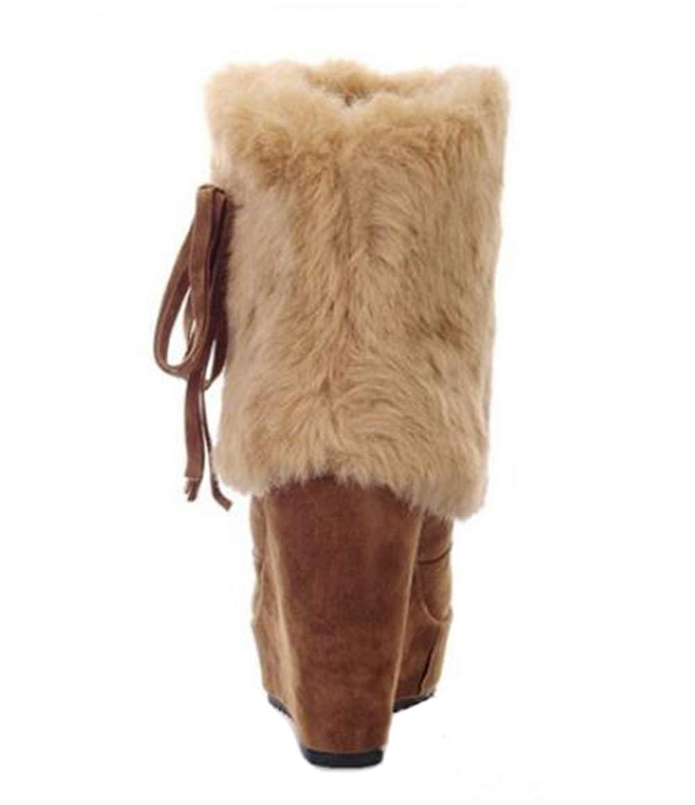 Alto Alto Alto talón de cuña contraste damas tobillo mediados de alto bloque de imitación ante ronda cabeza de invierno Slip en zapatos 150073