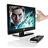 Upgraded Premium 15.6'' 1080p LED TV, Multimedia Disc Player, Ultra HD TV, LED Hi-Res Widescreen Monitor w/ HDMI Cable RCA Input, LED TV Monitor, Audio Streaming, Mac PC, Stereo Speakers, Wall Mount