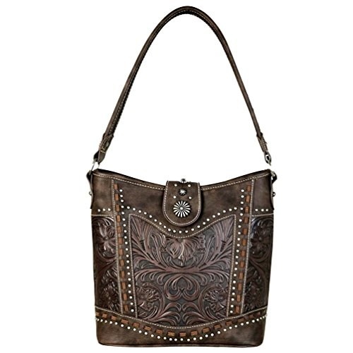 Trinity Collection Tooled Coffee Ranch Hobo Leather Handbag wqOwr0