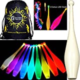3x One-Piece LED GLOW Juggling Clubs Set of 3 (26 Colour Variations!) + Flames N Games Travel Bag! Quality Training GLOW LED Juggling Club Set Ideal For Beginners & Advance Jugglers! (Fast Strobing)