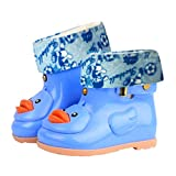 Toddler Baby Boy Girl Fashion Anti-Slip Warm Rain Shoes Durable Rubber Waterproof Boots Yellow Duck Water Shoes (Blue, US:9.5(Age:5-6T))
