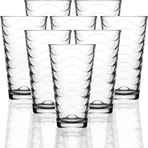 Circleware 40135 Pulse Set of 8-15.7 oz Heavy Base Highball Drinking Glasses Tumblers Ice Tea Beverage Cups Glassware for Water, Juice, Beer, 8pc, Clear