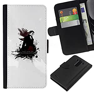 Planetar® Colorful Pattern Flip Wallet Leather Holster Protective Skin Case Cover For LG G3 / D855 / D850 / D851 ( The Son Of Destruction )