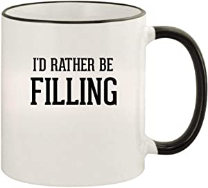 I'd Rather Be FILLING - 11oz Colored Rim and Handle Coffee Mug, Black