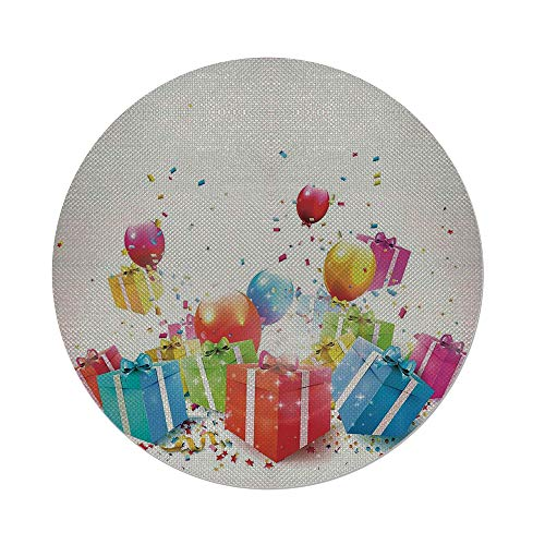 (iPrint Cotton Linen Round Tablecloth,Birthday Decorations,Surprise Boxes with Bow Ties Confetti Rain Balloons Celebratory Set Up,Multicolor,Dining Room Kitchen Table Cloth)