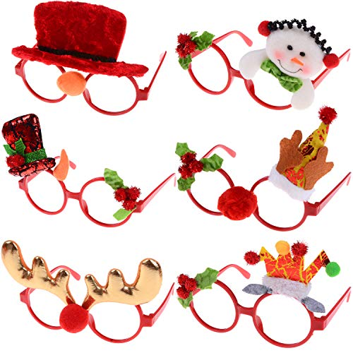 Holiday Frame Ornament - 6 PCS Christmas Novelty Glasses Frames Plastic Eyeglasses without Lens Christmas Costume Party Ornaments Holiday Gifts for Kids,Women,Men