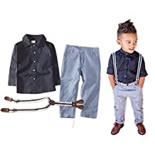 StylesILove Baby Boy T-shirt, Suspender Straps and Pants 3-pc (12-18 Months)