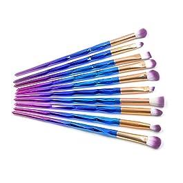 10 PCS Diamond Rainbow Mermaid Eyeliner Eyeshadow Blending Brush Makeup Tools Cosmetic Foundation Brushes Set Kit