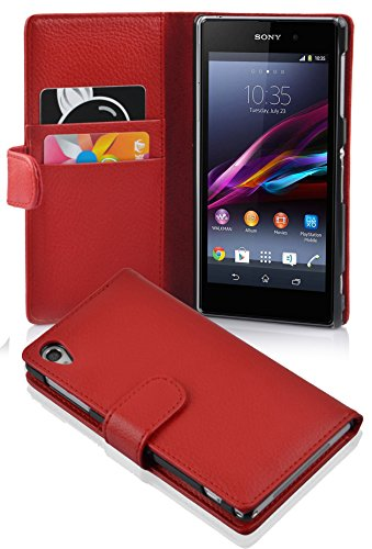 Cadorabo Case Works with Sony Xperia Z1 in Candy Apple RED (Design Book Structure) - with 2 Card Slots - Wallet Case Etui Cover Pouch PU Leather Flip