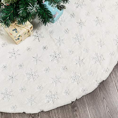 Kederwa 35inch Christmas Tree Skirt,Luxury Faux Fur White Xmas Tree Skirts with Sequin Snowflakes Thick Plush for Christmas Decoration Tree Ornaments