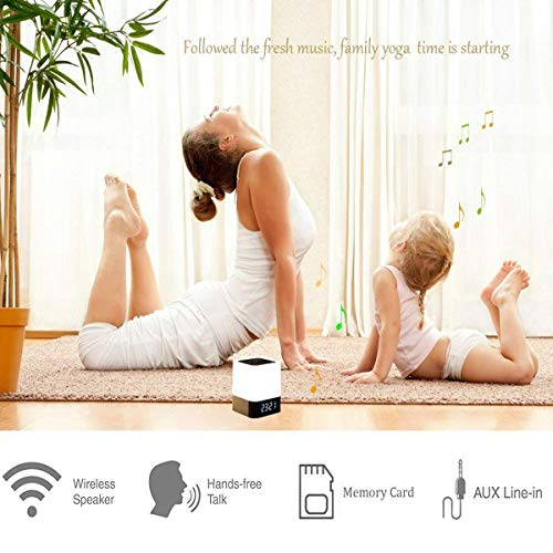HOMPOT- Night Light Bluetooth Speaker, Touch Sensor Bedside Lamp Warm Light and Color Changing Alarm Clock, MP3 Player, USB, AUX, 4000mAh Battery Best Gift for Kids, Party, Bedroom, Outdoor. by HOMPOT (Image #4)