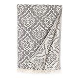 Linum Home Textiles Damask Delight Pestemal Beach Towel, Dark Gray