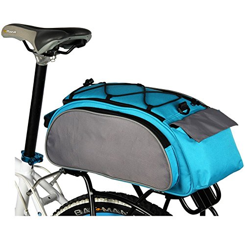 LightInTheBox Waterproof Bike Rear Seat Trunk Bag Multi Function Excursion Cycling Bicycle Carrying Luggage Package Rack Panniers with Rainproof Cover (Pool)