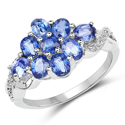 Huang and Co. 2.07 Carats Genuine Kyanite Ring Solid .925 Sterling Silver With Rhodium Plating ()