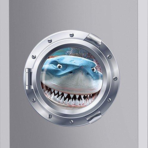 Witkey 3d View Ocean Paradise Series Removable Vinyl Wall Sticker Mural Decal Art Décor (big shark)