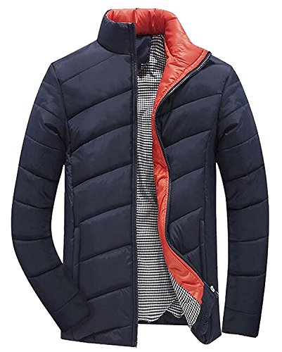 Mistere Men's Winter Thicken Warm Stand Collar Cotton-Padded Jacket Navy BlueUS-XS by Mistere wool-outerwear-coats