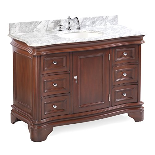 Katherine 48-inch Bathroom Vanity (Carrara/Chocolate): Includes Chocolate Cabinet with Authentic Italian Carrara Marble Countertop and White Ceramic Sink