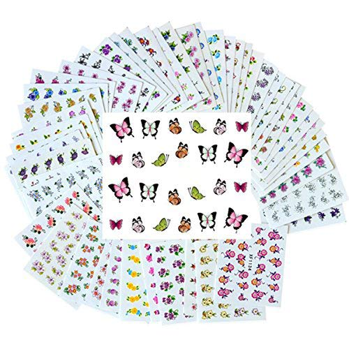 New8Beauty Nail Art Stickers Decals (50-Pack) - DIY Water Transfer Manicure Nails Stickers for Women Girls Kids NewEights