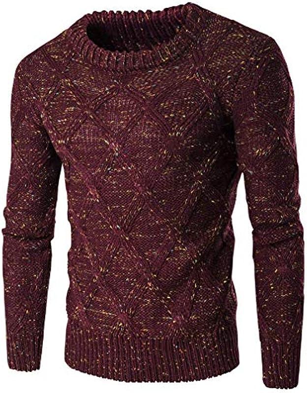 Męski sweter z długim rękawem swobodny okrągły dekolt wycięcie dzianina odzież sweter normalny wiosna jesień sweter dziergany: Odzież