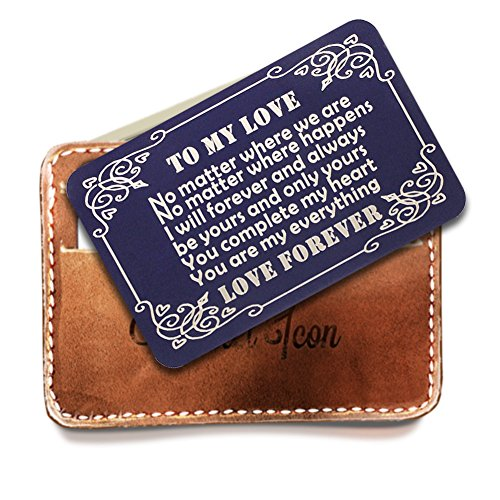 50 Engraved Cards - Engraved Navy Wallet Insert, Personalized Wallet Card, Mini Love Note, Metal Wallet Card - Anniversary, Valentine's Day, Father's Day, Deployment Gifts