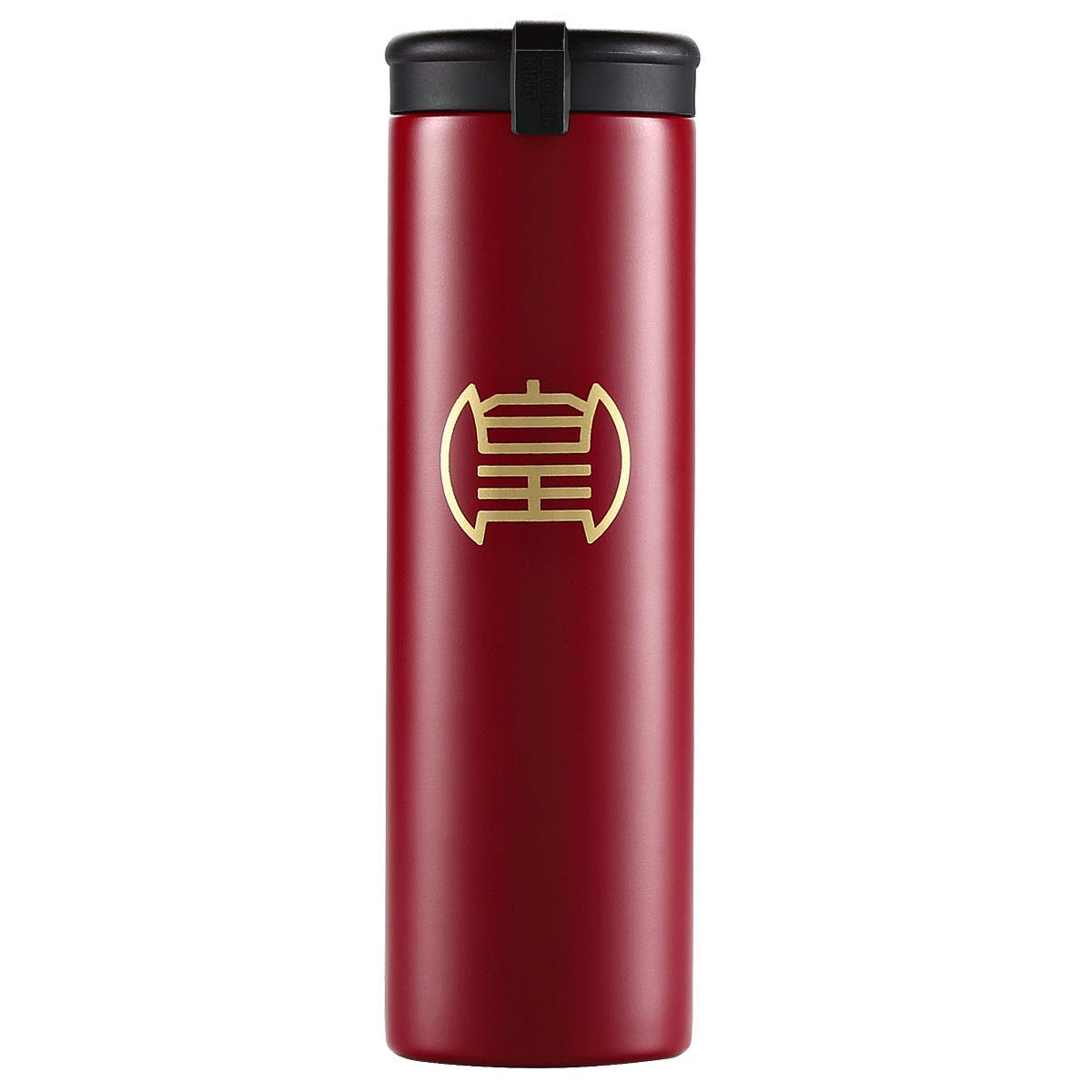 Sports Water Bottle Double Walled Vacuum Insulated Travel Mug //14oz Thermos Cup for Outdoor Camping Hiking Cycling Fitness Black Cook King