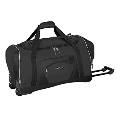 "22"" Adventure by Travelers Club Luggage 2-Tone Multi-Pocket Robust Rolling Duffel, Black Color Option"