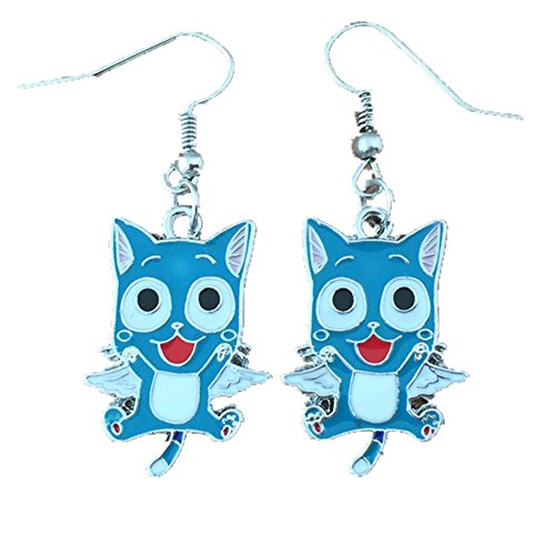 (Anime Fairy Tail Happy Dangle Earrings Gift Box)