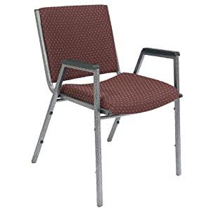 Heavy Duty Upholstered Stack Chair with Arms Set/2 (Burgundy w/ pattern) (33H x 20.25W x 21D)
