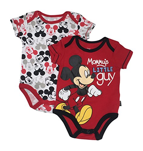 Mickey Mouse Disney Mommy's Little Guy Baby 2 Pack Bodysuit Set 0-9 Months (3/6 Months)