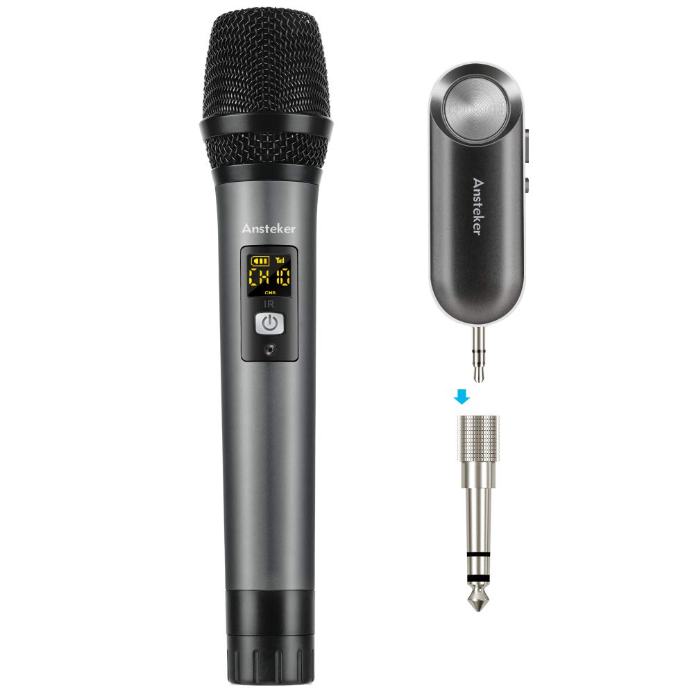 handheld wireless microphone ansteker uhf mini bluetooth receiver and output for. Black Bedroom Furniture Sets. Home Design Ideas