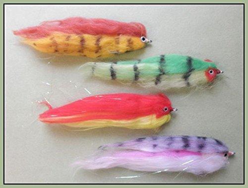 Pike fly Fishing Mixed Size 1//0 /& 2//0 4 Red Zonker Pike Pike Fishing Flies