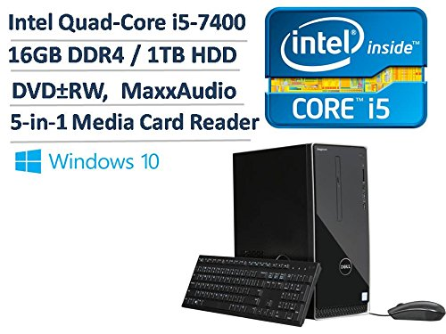 2017 Newest Dell Inspiron 3668 Premium High Performance Business Desktop - Intel Quad-Core i5-7400 3.0GHz, 16GB DDR4, 1TB HDD, DVDRW, Bluetooth, HDMI, WLAN, MaxxAudio, 5-in-1 Media Card Reader, Win 10 by Dell