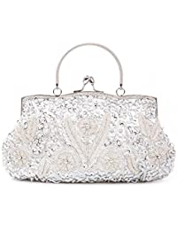Womens Vintage Kiss Lock Beaded Sequin Design Flower Evening Clutch Large Wedding Purse